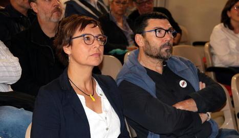 La candidata d'ERC per Girona, Montserrat Bassa, ahir.