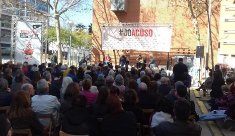 Imatge dels actes previs a la Botifarrada Suprema d'Òmnium Cultural a Barcelona, ahir.