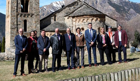 El president va visitar el romànic de la Vall de Boí i va poder veure el màping de Sant Climent.