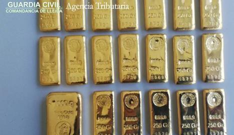 Els lingots d'or comissats a la Farga de Moles.