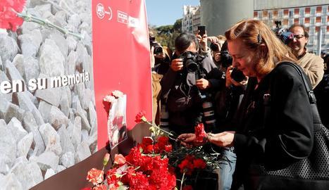 L'expresidenta de l'Associació 11-M Pilar Manjón, durant l'ofrena floral a l'homenatge a Madrid.