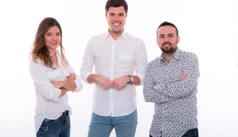 La Rut Camí, el Joan Cama i l'Aleix Bergés, periodistes de Lleida TV.