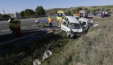 Imatge de l'accident mortal de dimecres a la intersecció.