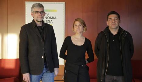 Jaume Saura, Marta Molina i David Bondia, ahir a la UdL.