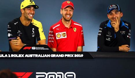 Daniel Ricciardo, de Renault, l'alemany Sebastian Vettel, de Ferrari, i Kubica, de Williams.