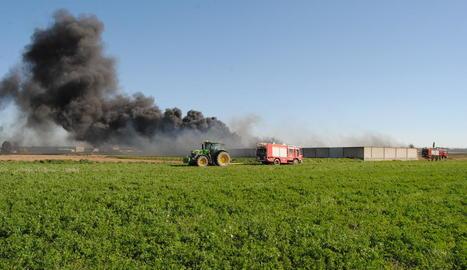 Imatge de la columna de fum que sortia de l'incendi d'una nau, ahir, a Fondarella.