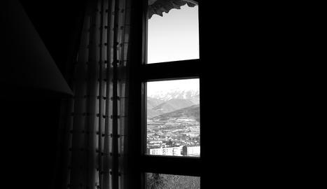 Des de l'habitació de l'hotel, l'Eugènia va immortalitzar les muntanyes de l'Alt Urgell.