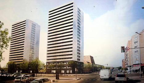 Imatge virtual de les dos futures torres de pisos al costat del palau de congressos de la Llotja.