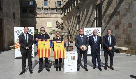Recepció a la Generalitat de l'amistós Catalunya-Veneçuela