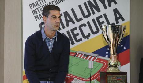 El seleccionador català, Gerard López, durant la roda de premsa d'ahir en la qual va anunciar la llista.