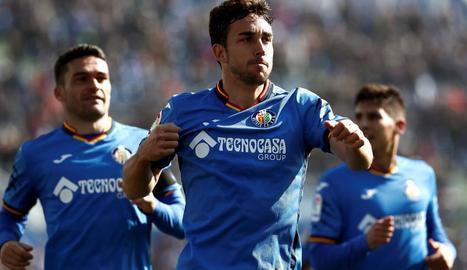 Jaime Mata celebra un gol amb el seu equip, el Getafe.