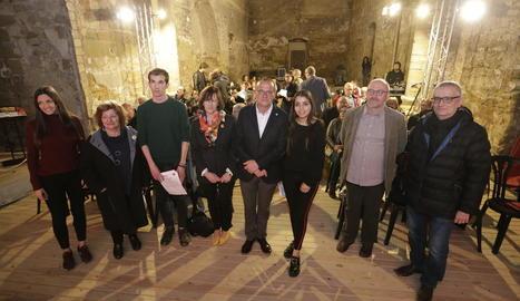 Membres de Lleida Republicana, amb l'alcaldable d'ERC, Miquel Pueyo, ahir a Gardeny.