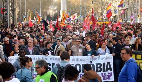 Un moment de la manifestació celebrada ahir a Barcelona.