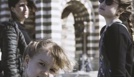 La Sandra i les seues filles, Júlia i Luna, en la seua estada a Itàlia.