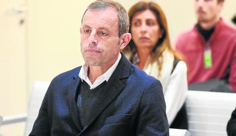 Sandro Rosell, durant la sessió d'ahir a l'Audiència Nacional, on està sent jutjat.