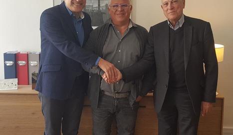 Josep Maria Orteu, Philippe Micheá i Antoni Escribà, després de l'acord.