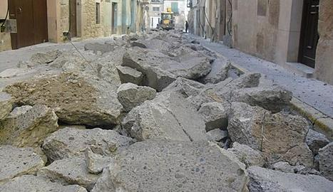 Les obres que ja s'han començat al carrer Pregàries.