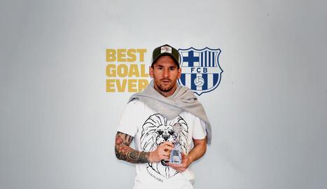 Leo Messi va rebre el guardó al millor gol de la història del Barça, que va marcar el 2007 al Getafe.