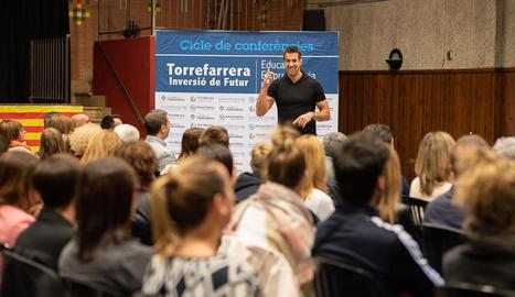 Sergi Grimau durant la conferència 'Dejando huella'.