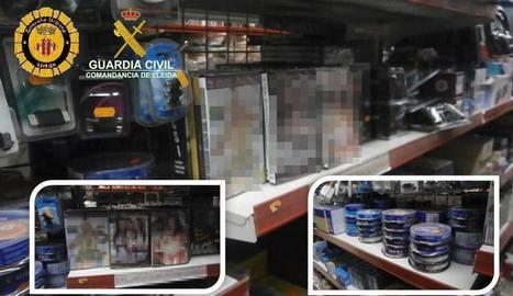 Vista del material confiscat en una botiga de Mossèn Reig.