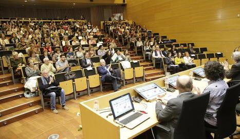 Un moment de la dotzena jornada d'acompanyament al dol ahir a la Universitat de Lleida.