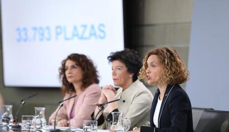 Batet, Celaá i Montero, ahir, després del Consell de Ministres.