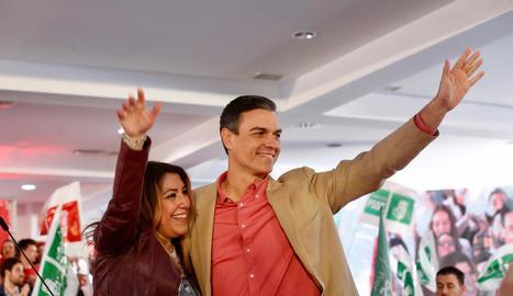 Pedro Sánchez va participar en un acte a Jaén amb Susana Díaz.