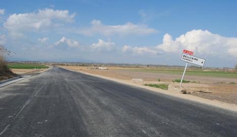 Imatge d'aquesta setmana de l'estat de la carretera a la sortida de Linyola cap a Bellcaire.