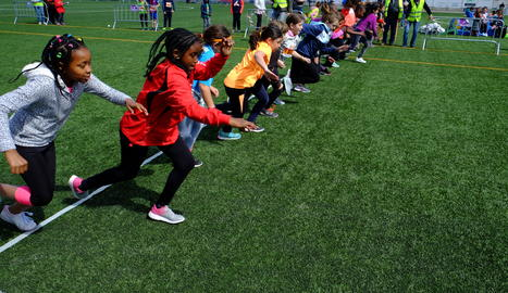 Els alumnes d'Alcarràs en plena competició.