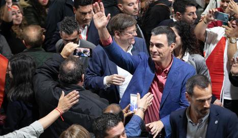 Pedro Sánchez, en el míting que va fer ahir a Alacant.