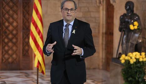 Torra, durant la seua declaració institucional de Sant Jordi des del Palau de la Generalitat.-