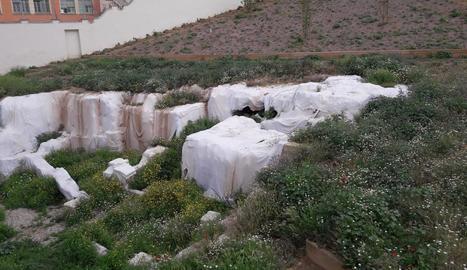 Males herbes al costat de les restes tapades de l'antic barri jueu