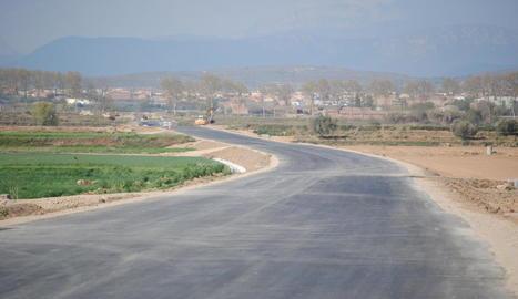 Les obres a la carretera de Linyola.