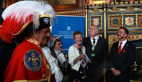 El conseller Alfred Bosch, ahir en un acte institucional de Sant Jordi al Parlament britànic.