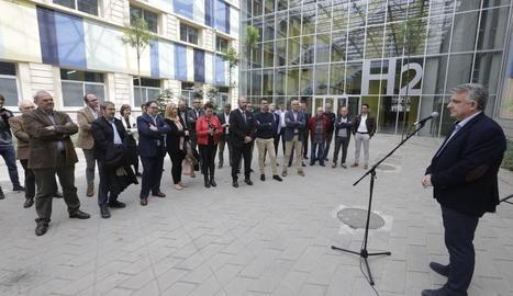 Jaume Saltó s'adreça als seus candidats al parc científic de Gardeny.