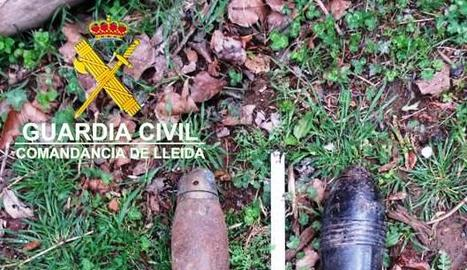 El projectil i la granada de mà que es van trobar a Conca de Dalt.