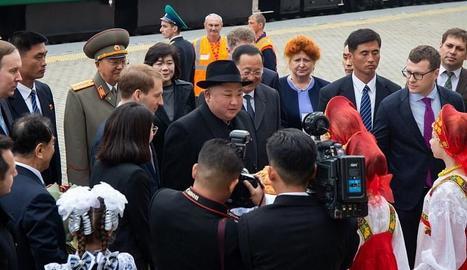 Imatge del líder nord-coreà, a l'arribar a Vladivostok.