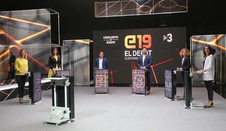 Imatge dels sis candidats de Barcelona al debat de TV3.