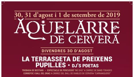 L'Aquelarre de Cervera celebrarà la 42a edició del 30 d'agost a l'1 de setembre
