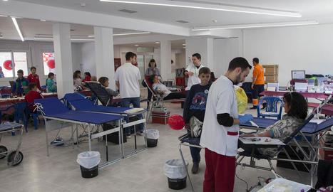 La marató de donació de sang va tenir lloc dissabte.