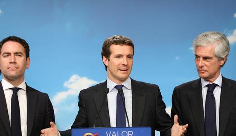 El candidat del Partit Popular a la presidència del Govern, Pablo Casado, al centre de la imatge.