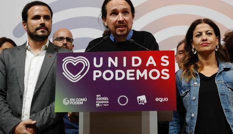 Iglesias valora els resultats electorals, al costat de Garzón.