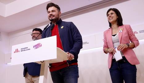 Rufián va comparèixer ahir amb Nuet i Vilalta satisfets amb els resultats de les eleccions.