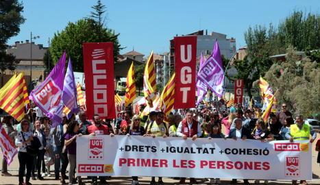 Unes 400 persones es manifesten a Lleida contra la precarietat laboral