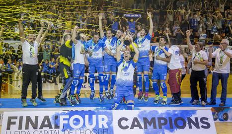 Els jugadors del Lleida Llista Blava, al final del partit.