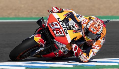 Marc Màrquez, durant la sessió d'entrenaments lliures al circuit de Jerez.