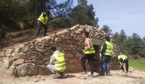 Alumnes de l'institut de Mollerussa, durant els treballs de restauració de la cabana de volta.
