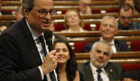 El líder dels socialistes catalans, Miquel Iceta, ahir al Parlament.