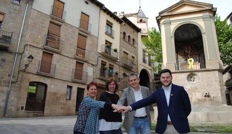 Els candidats de Solsona: Encarna Tarifa (PSC), Pilar Viladrich (CUP), David Rodríguez (ERC) i Marc Barbens (JxCat).