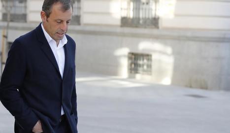 Sandro Rosell, a l'arribar a l'Audiència Nacional per comparèixer al judici.